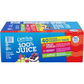 Capri Sun 100% Juice Variety Pack, 40 ct. Box