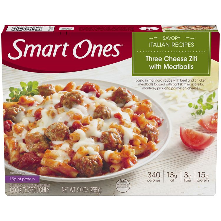 Smart Ones Three Cheese Ziti With Meatballs, Frozen Meal, 9 oz Box