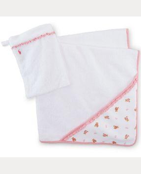 Ralph Lauren Cotton Hooded Towel & Mitt Set