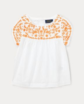 Ralph Lauren Embroidered Cotton Poplin Top