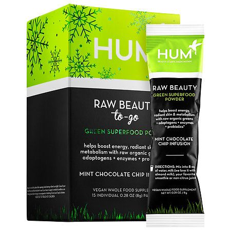 Hum Nutrition Raw Beauty To-Go Green Superfood Powder 15 x 0.28 oz/ 8 g Packets