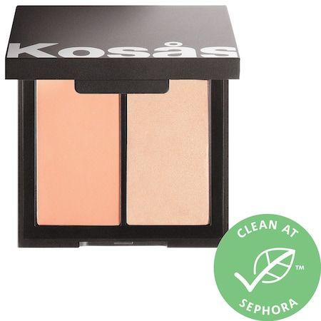 KOSAS Color & Light: Creme Cream Blush & Highlighter Duo Velvet Melon .32 oz / 9 mL/g