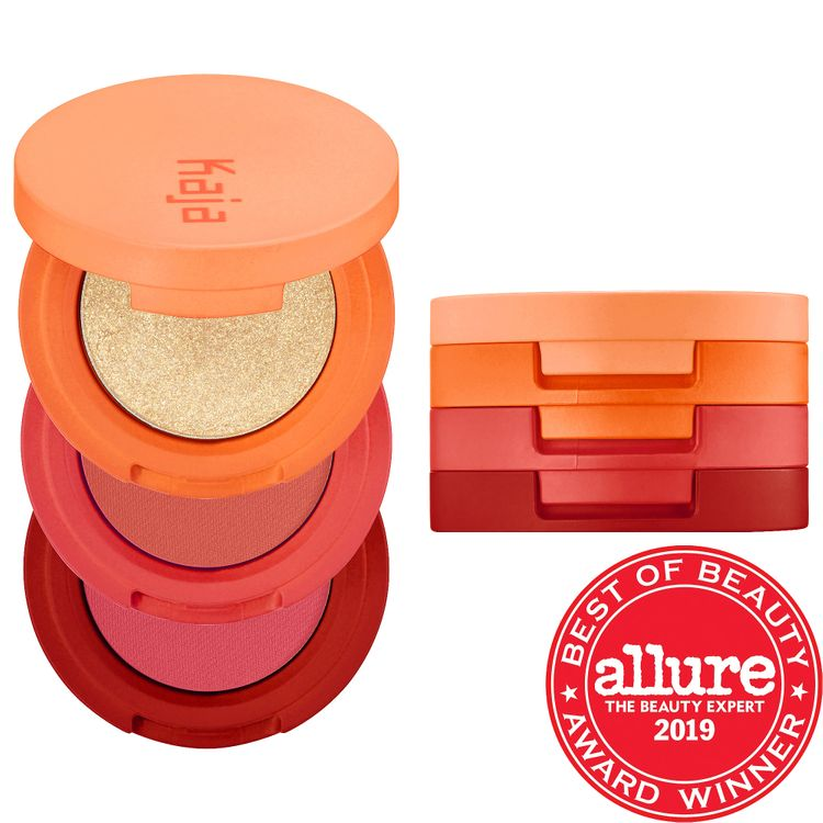 Kaja Beauty Bento Bouncy Shimmer Eyeshadow Trio Poppy Champagne