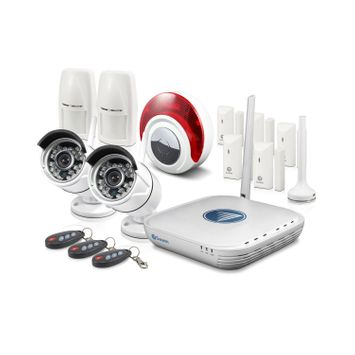 NVA-460 Wi-Fi Video & Alarm Security Kit - Micro Monitoring System with 2 x 720p Day/Night Cameras, 7 x Alarm Sensors & Siren & Smartphone Connectivity