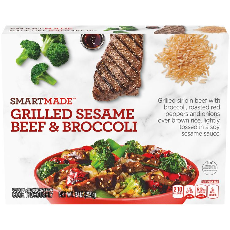 SmartMade Grilled Sesame Beef & Broccoli, Frozen Meal, 9 oz Box