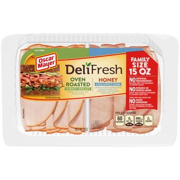 Oscar Mayer Deli Fresh Oven Roasted Turkey & Honey Ham Lunch Meat Variety Pack, 15 oz Package