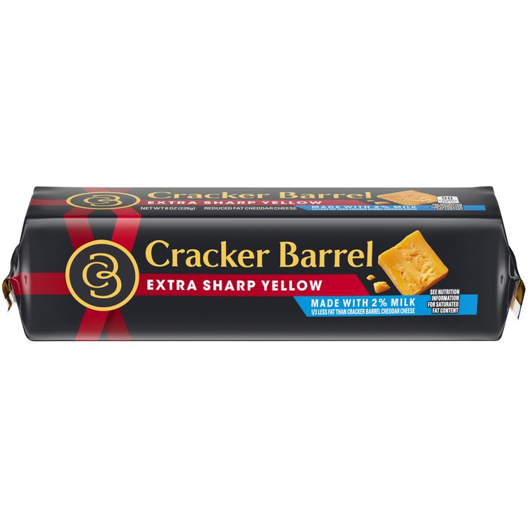 Cracker Barrel Extra Sharp Yellow Cheddar Cheese Block Made with 2% Milk, 8 oz Wrapper