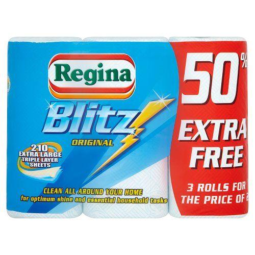Regina Blitz Original 210 Extra Large Triple Layer Sheets 3 Rolls