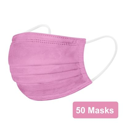 Disposable Earloop Face Mask, Pink, 50/Box (FIK0962R) | Quill