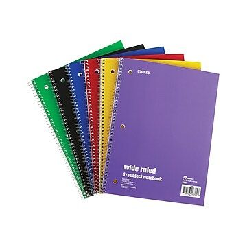 "Staples; 1 Subject Notebook, 8"" x 10-1/2"", 6/Pack"