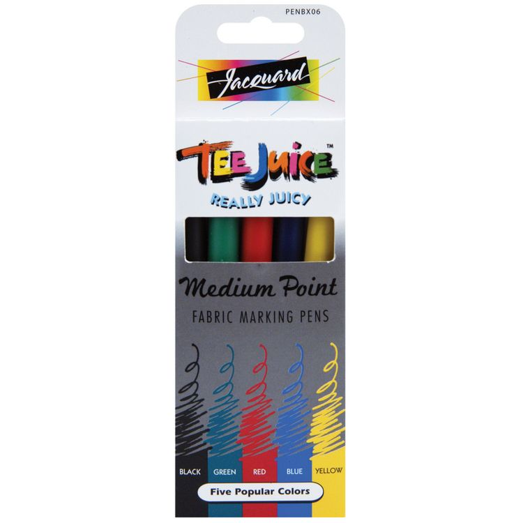 Jacquard Products 445248 TeeJuice Medium Point Fabric Pens 5PkgClassics