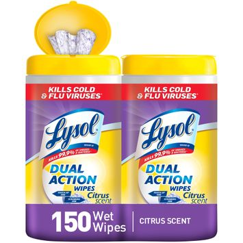 Lysol Dual Action Disinfecting Wipes Value Pack, Citrus