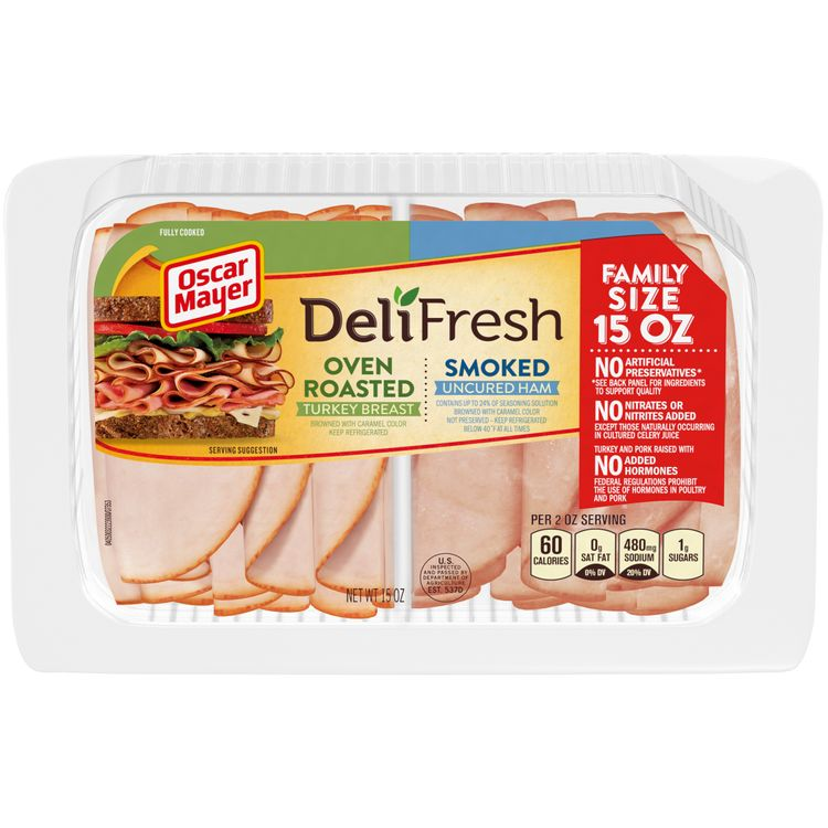 Oscar Mayer Deli Fresh Oven Roasted Turkey Breast & Smoked Ham Lunch Meat Variety Pack