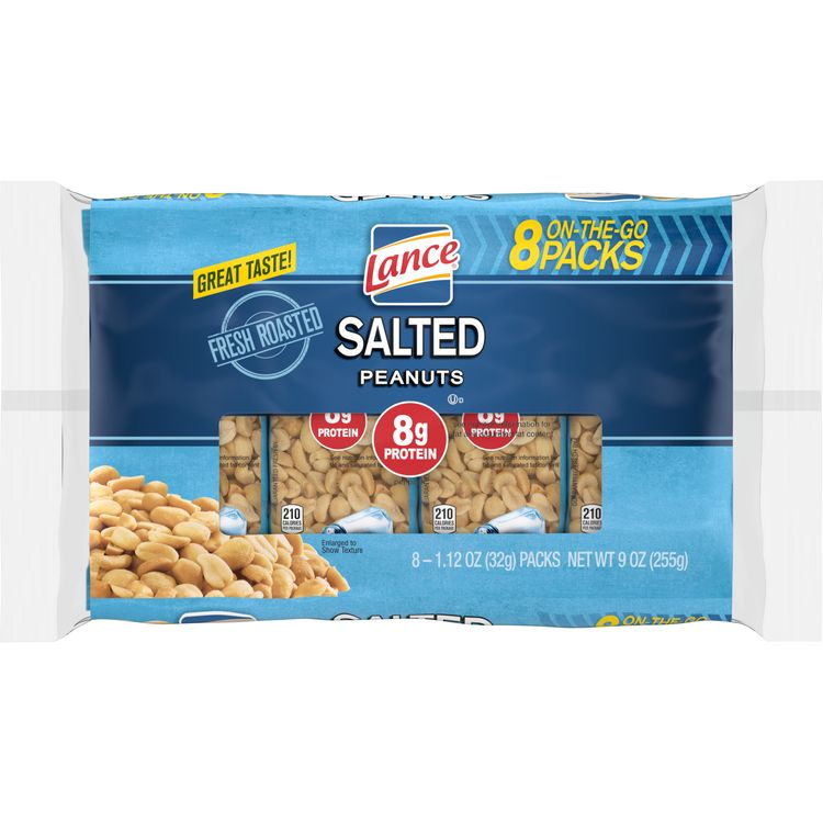 Lance Salted Peanuts, 8 Ct. Pack of Snack Bags, 1.12 Oz Each