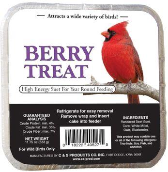 C&S Berry Treat Suet Wild Bird Food, 11.75 Ounce