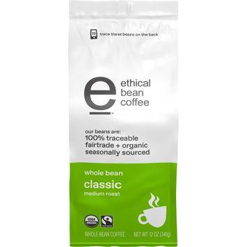 Ethical Bean Fairtrade Organic Coffee, Classic Medium Roast, Whole Bean Coffee, 12 oz. Bag
