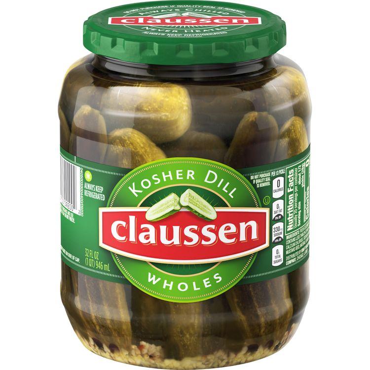 Claussen Kosher Dill Pickle Wholes, 32 fl oz Jar