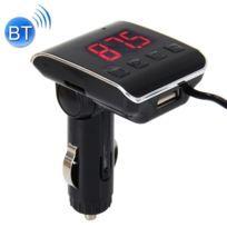 Transmetteur Fm Auto 12-24V 2.1A lecteur de musique Mp3 multi-fonction voiture Fm Chargeur de sans fil avec port Usb et support d'écran Led main-libre et carte Micro Sd Argent