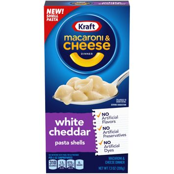 Kraft White Cheddar Macaroni and Cheese Dinner with Shells Pasta, 7.3 oz Box