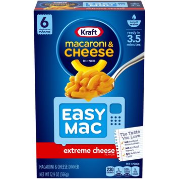 Kraft Easy Mac Extreme Cheese Macaroni and Cheese, 6 ct - 12.9 oz Box