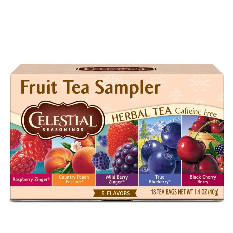 Celestial Seasonings Fruit Tea Sampler Herbal Tea, 18 Count Box