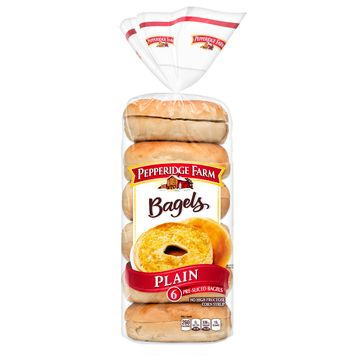 Pepperidge Farm® Plain Bagels, 21 oz. Bag, 6-pack