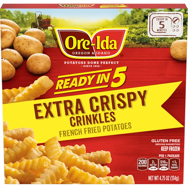 Ore-Ida Ready in 5 Extra Crispy Crinkles Fries, 4.75 oz Box
