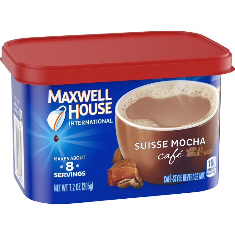 Maxwell House International Suisse Mocha Cafe Beverage Mix, Caffeinated, 7.2 oz Can