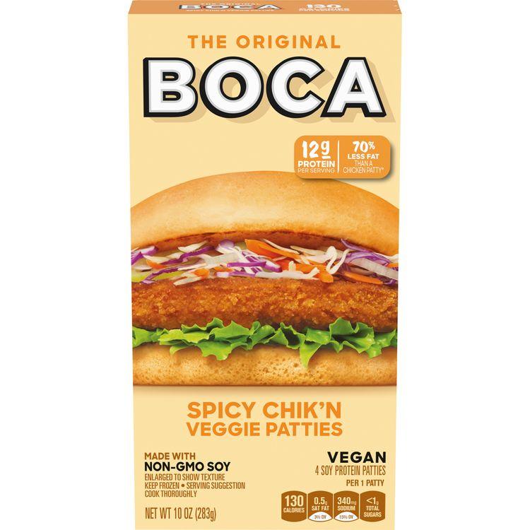 BOCA Non-GMO Soy Spicy Chik'n Veggie Patties, 4 ct - 10.0 oz Box