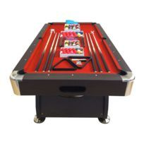 Billard Americain 250cm rouge - Neuf - table de billard Snooker 8 ft dimensions de jeu 220 x 110 cm