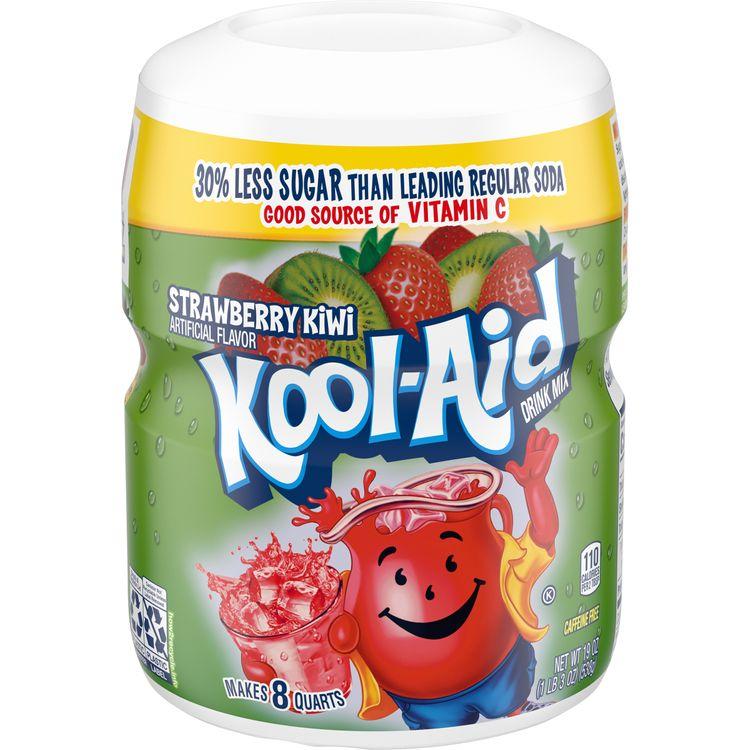 Kool-Aid Sweetened Strawberry Kiwi Powdered Drink Mix, Caffeine Free, 19 oz Jar