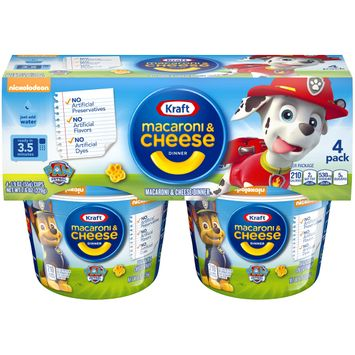 KRAFT EASY MAC Paw Patrol Shapes Macaroni and Cheese Cups, 4 ct. Package