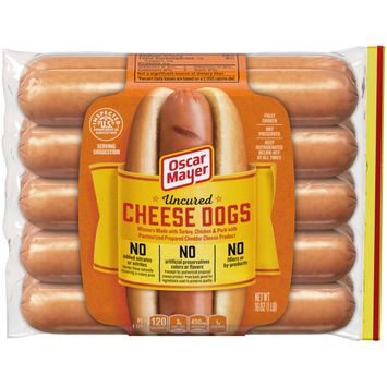 Oscar Mayer Uncured Cheese Hot Dogs, 10 ct - 16 oz. Package