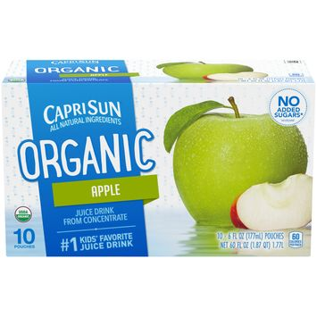 Capri Sun Organic naturally flavored Apple Juice Drink Blend from concentrate with other natural flavors, 10 ct. Box