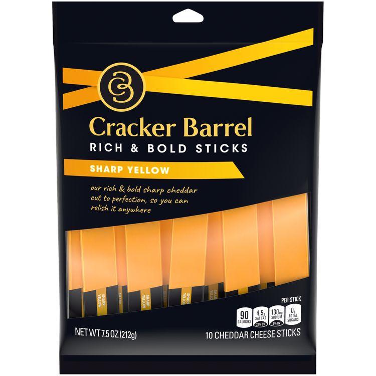 Cracker Barrel Sharp Cheddar Cheese Sticks, 10 ct - 7.5 oz Bag