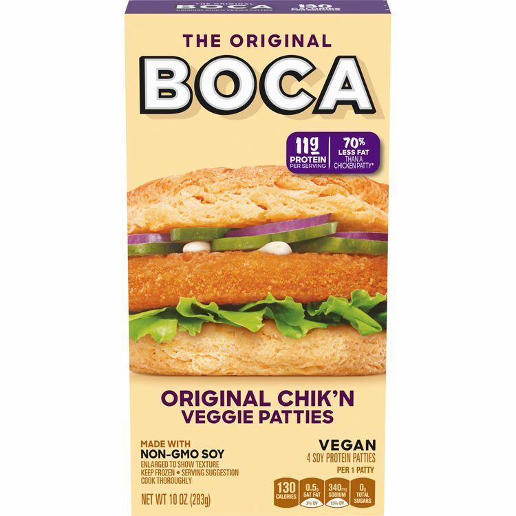 BOCA Non-GMO Soy Original Chik'n Veggie Patties, 4 ct - 10.0 oz Box