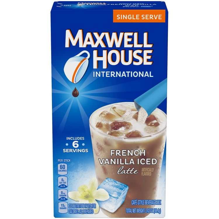 Maxwell House International French Vanilla Iced Latte Cafe-Style Beverage Mix, 6 ct - 3.42 oz Box