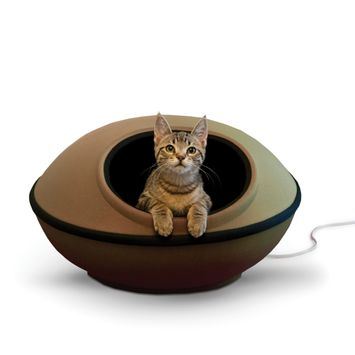 K&H Pet Products Thermo-Mod Dream Pod Heated Pet Bed Tan/Black 22 Inches (FFP)