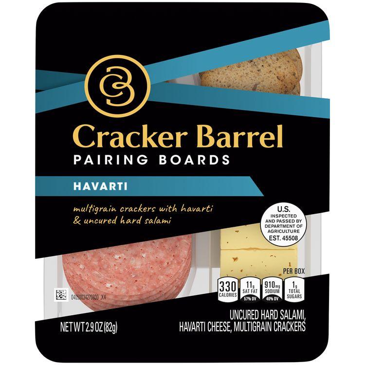 Cracker Barrel Pairing Boards, Havarti, Uncured Hard Salami & Multigrain Crackers, Individually Sealed Single-Serve Snack, 2.9 oz Package