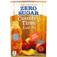 Country Time On-The-Go Powdered Drink Mix, Zero Sugar Peach Harvest Iced Tea, 6 ct - Packets
