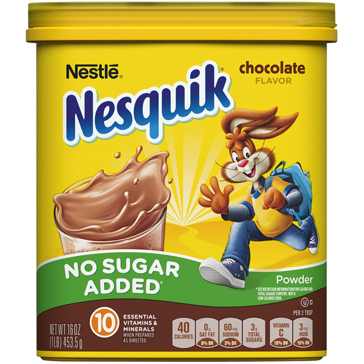 Nesquik No Sugar Added Chocolate Flavored Powder 16 oz. Canister