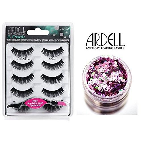 Ardell Professional 5-PACK Lashes, 101 DEMI, Contains 5 pairs of Lashes & Precision Eye Lash Applicator (with bonus Skin/Hair Glitter)