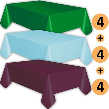 12 Plastic Tablecloths - Emerald Green, Baby Blue, Plum - Premium Thickness Disposable Table Cover, 108 x 54 Inch, 4 Each Color