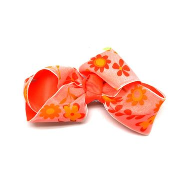 Neon Pink Flower Bow Barrette Hair Clip - Colorful Ribbon Bow Alligator Clip
