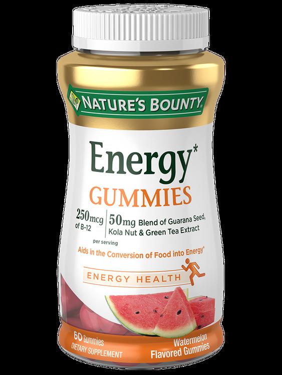 Natures Bounty Energy* Gummies 250 mcg of B-12, 50 mg Blend of Guarana Seed,  Kola Nut & Green Tea Extract per serving 60