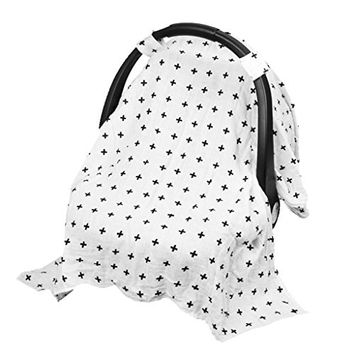 Homyl Stretchy Kids Car Seat Covers For Boys Girls, Infant Car Canopy for Spring Autumn Winter,Snug Warm Breathable Windproof - +, as described