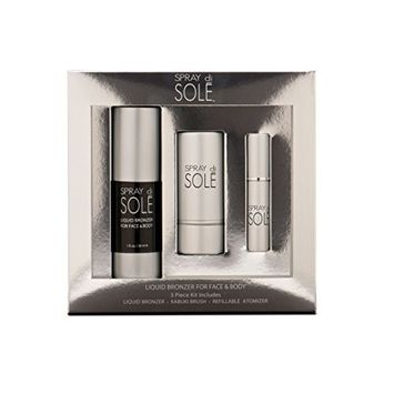 Spray Di Sole Face + Body Liquid Bronzer and Kabuki Face Brush 30ml Kit