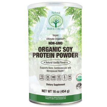 Natural Nutra Organic Soy Protein Isolate Powder, Vanilla, Non GMO, Vegan, 16 oz Powder