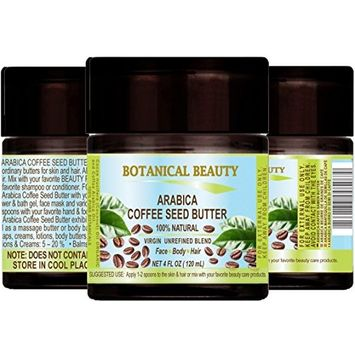 ARABICA COFFEE SEED BUTTER 100 % Natural / 100% PURE BOTANICALS. VIRGIN/ UNREFINED BLEND. Cold Pressed. 4 Fl.oz.- 120 ml. For Skin, Hair and Nail Care.