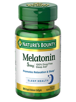 Slide: Natures Bounty Melatonin 5 mg 90